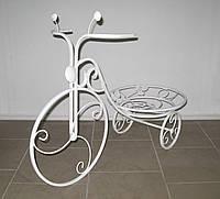 Кованая подставка для цветов Велосипед 1 большой белый