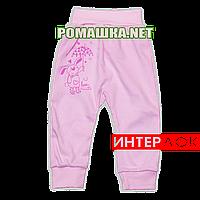 Штанишки на широкой резинке р. 68 демисезонные ткань ИНТЕРЛОК 100% хлопок ТМ Алекс 3297 Розовый2