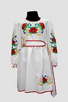 Вишите плаття для дівчинки Veronika Подолянка Тамара квіти маки молочний 134