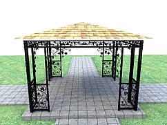 Беседка кованая четырехугольная с четырехскатной крышей Светлый