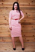 Красное  платье батал с поясом из кожзама. Арт-9486/77