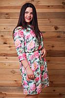 Шифоновое батальное платье с яркими цветами. Арт-9488/77