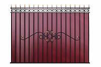 Забор из профнастила, с элементами ковки, код: А-0103