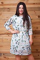 Шифоновое батальное платье с мелкими  цветами. Арт-9488/77