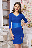 Трикотажное  женское платье   Инара электрик   44-50 размеры