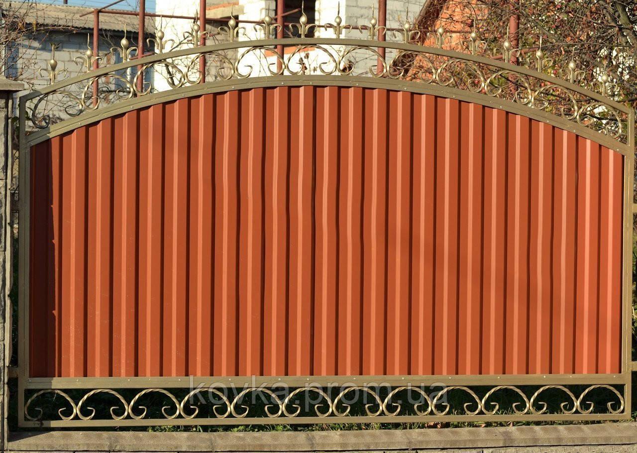 Забор из профнастилом, с коваными элементами, код: А-0107