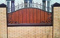 Забор из профнастилом, с коваными элементами, код: А-0108