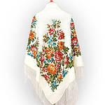 """Платок шерстяной с просновками и шелковой бахромой """"Весеннее цветение"""", фото 2"""
