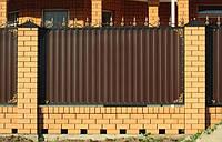 Забор из профнастилом, с коваными элементами, код: А-0109