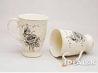 """Фарфоровая чашка  """"IDEAL- K"""" MP-06   """"Черная роза"""" 320 мл., Идеал (Украина)"""
