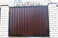 Забор из профнастилом с ковкой