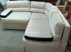 Спальный угловой диван с подушками-подлокотниками