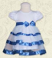 Платье Маленькая Леди к.р. Кулир цвет голубой, коралловый размер 56-68 Бетис