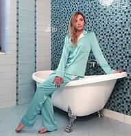 Женская пижама из вискозного шелка с кантами