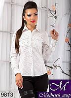 Женская белая рубашка в мелкий квадратик (р.S, M, L, XL) арт. 9813