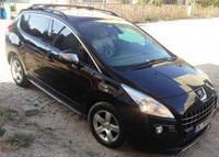 """Рейлинги Peugeot 3008 2010+  Crown (тип skyport), сплошный алюминий, цвет """"Черный"""""""