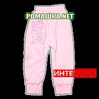 Штанишки на широкой резинке р. 80 демисезонные ткань ИНТЕРЛОК 100% хлопок ТМ Алекс 3297 Розовый1