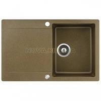 Кухонная мойка AquaSanita Standard CUBUS SQC101AW-110 beige 301 brass