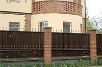 Ограждение из профнастилом, с коваными элементами, код: А-0121