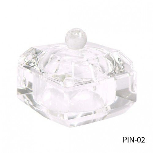 Стеклянная посуда для мономера с крышкой квадратной формы. PIN-02_LeD
