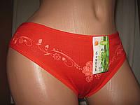 Трусики женские бамбук модал красные с цветами  р.44-48