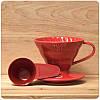 Пуровер Hario V60 02 Red Ceramic Dripper , фото 2