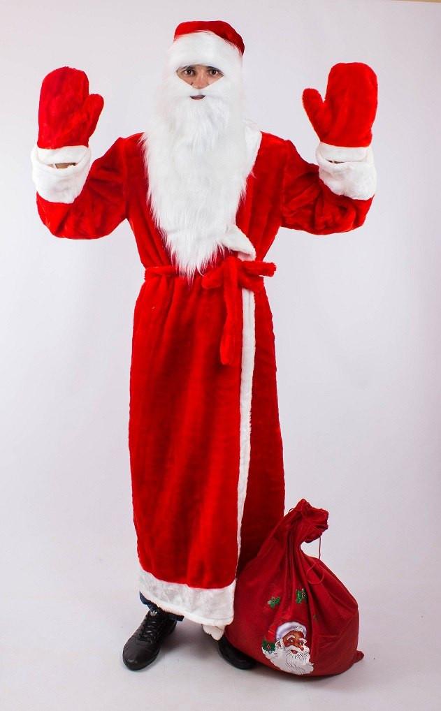 Карнавальный костюм Деда Мороза (взрослый): халат, шапка, борода, пояс и варежки.