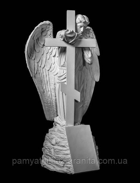Ангел с крестом из искусственного мрамора - 175 см