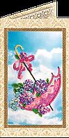 Набор-открытка для вышивки бисером «Цветы в зонтике»