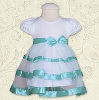 Платье Маленькая Леди к.р. Кулир цвет бирюзовый, лиловый размер 56-68 Бетис