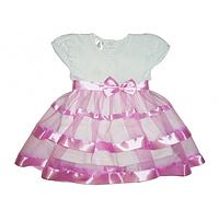 Платье Маленькая Леди к.р. Кулир цвет бирюзовый, лиловый размер 74-86 Бетис