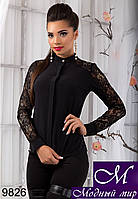 Женская черная блуза с гипюром (р.S, M, L, XL ) арт. 9826