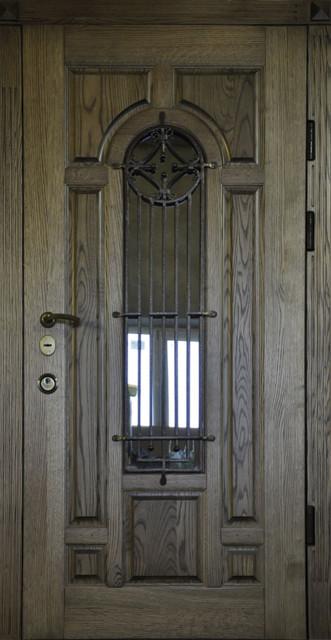 Двери входные с дубовыми накладками д2