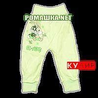 Штанишки на широкой резинке р. 68 ткань КУЛИР 100% тонкий хлопок ТМ Алекс 3178 Зеленый
