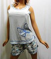 Пижама женская большого размера майка с шортами, хлопок.
