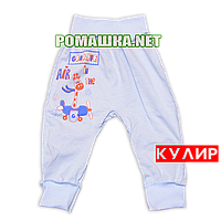 Штанишки на широкой резинке р. 62 ткань КУЛИР 100% тонкий хлопок ТМ Алекс 3178 Голубой
