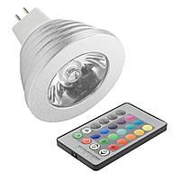 Лампа Lemanso светодиодная RGB 3W MR16 с пультом 85-230V