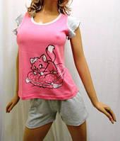 """Пижама женская футболка с крылышком и шортики """"сердце Дня Всех Влюблённых"""""""