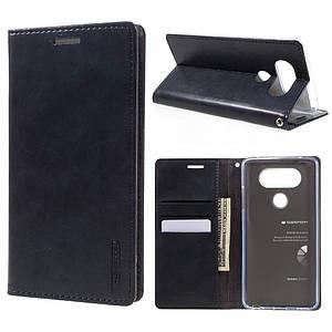 Чехол книжка для LG V20 H990 боковой с отсеком для визиток, MERCURY GOOSPERY Blue Moon, темно-синий