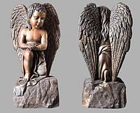 Скульптура ангелочка из искусственного мрамора № 2 (тонированный)