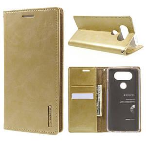 Чехол книжка для LG V20 H990 боковой с отсеком для визиток, MERCURY GOOSPERY Blue Moon, золотистый