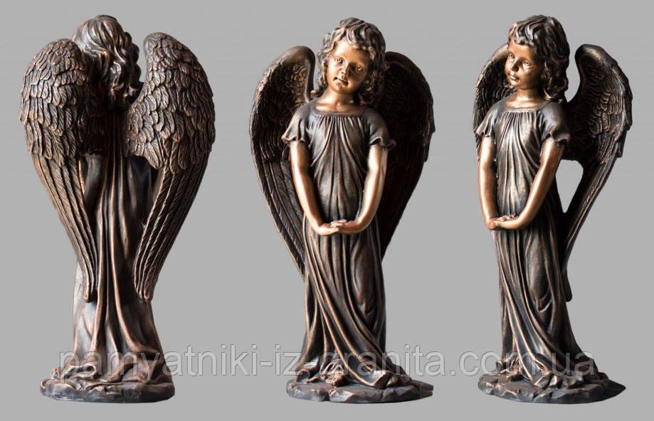Скульптура ангелочка из искусственного мрамора № 3 (тонированный)