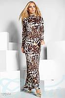 Длинное леопардовое платье.