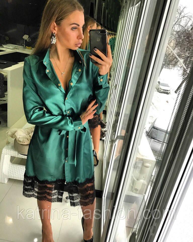166f1efea2f Женское стильное платье-рубашка с кружевом (3 цвета) - KATRINA FASHION -  оптовый