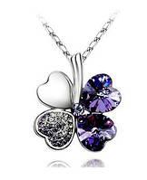 Ожерелье Австрийский хрусталь 4 Листья Клевера сердце стразами, сиреневый