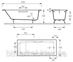 Ванна чугунная JACOB DELAFON PARALLEL (170х70 см.) (ручки), фото 3