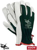 Перчатки защитные из высококачественной козьей кожи  (кожаные рабочие REIS Польша) RLTOPER-GREEN ZW