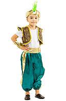 Костюм Восточного принца Аладдина Султана: жилетка, шорты, браслеты, и шапочка с пером.
