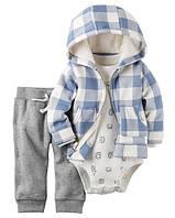 Теплый детский комплект 3в1( штанишки+боди +теплая кофточка)для мальчика  +Картерс