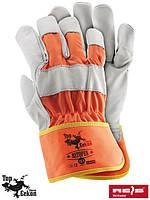 Перчатки защитные, выполненные из высококачественный яловой кожи  (кожаные рабочие REIS Польша) RSTOPER PW